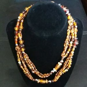 Brown hand beaded necklace
